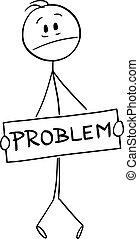 caricatura, el suyo, tenencia, señal, frustrado, ilustración, entrepierna, genital, problema, vector, o, cubierta, hombre
