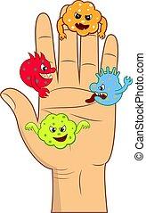 caricatura, enojado, bacteriano, humano, palm., células