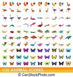 caricatura, estilo, conjunto, iconos, animal, 100