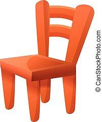 caricatura, estilo, silla, icono, de madera