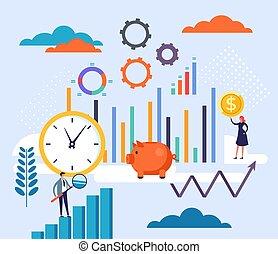 caricatura, estrategia, trabajo en equipo, gráfico, ilustración negocio, diseño, concept., vector, planificación, plano