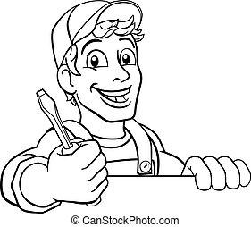 caricatura, factótum, plomero, electricista, mecánico