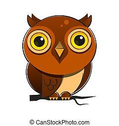 caricatura, fauna, niños, ojos, grande, ilustración, búho