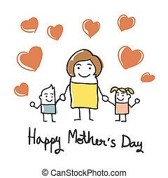 caricatura, feliz, día, tarjeta, madres