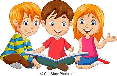 caricatura, feliz, libro, lectura, niños