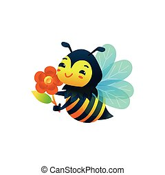 caricatura, flor, poco, isolated., abeja, plano, vector, ilustración, carácter