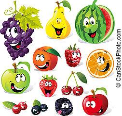 caricatura, fruta, divertido