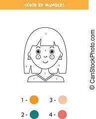 caricatura, game., numbers., educativo, color, niña
