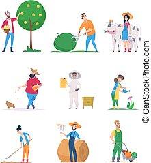 caricatura, gente, vegetales, caracteres, crecimiento, vector, trabajadores, feliz, jardineros, agricultura, farmers.