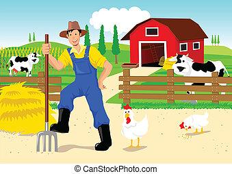 caricatura, granjero
