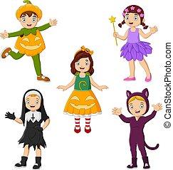 caricatura, grupo, diferente, llevando, trajes, niños
