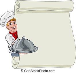 caricatura, hombre, plano de fondo, señal, panadero, cocinero, menú, chef