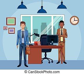 caricatura, hombres de negocios, escritorio de oficina