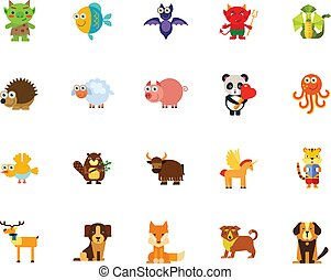 caricatura, icono, conjunto, animales