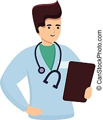 caricatura, icono, doctor, estilo
