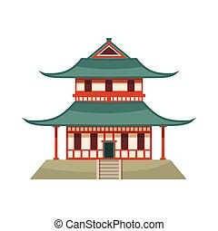 caricatura, icono, pagoda, estilo
