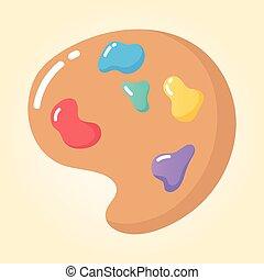 caricatura, icono, paleta, artístico, color educación, escuela primaria