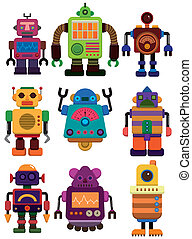 caricatura, icono, robot, color