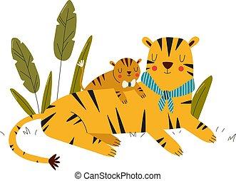 caricatura, ilustración, estilo, cuidado de amor, animales, tigre, safari, madre, bebé, tigress, vector, aislado, white., exposiciones