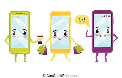 caricatura, ilustración, feliz, caras, divertido, colección, teléfonos, smartphones, situaciones, vector, caracteres, diferente, lindo