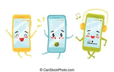 caricatura, ilustración, feliz, caras, divertido, smartphones, colección, vector, caracteres, lindo