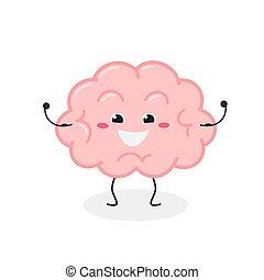 caricatura, ilustración, fuerte, carácter, cerebro, vector, alegre