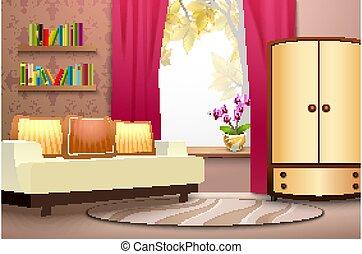 caricatura, ilustración, interior, habitación