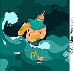 caricatura, ilustración, poseidon