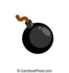 caricatura, isolated., bomba, redondo, ilustración, vector