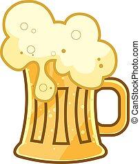 caricatura, jarro de cerveza, espuma