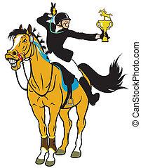caricatura, jinete, caballo