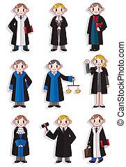 caricatura, juez, conjunto, icono
