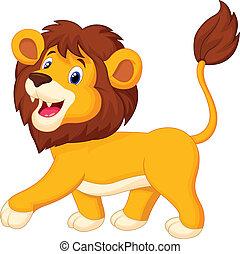 caricatura, león, ambulante