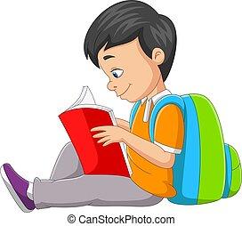 caricatura, libro, niño, poco, lectura