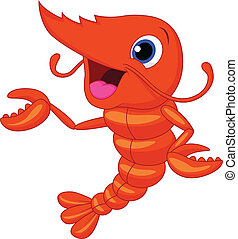 caricatura, lindo, presentación, camarón