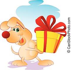 caricatura, lindo, su, carácter, grande, arco, patas, rojo, vector, perro, caja, ilustración, lleva