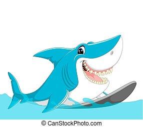 caricatura, lindo, tiburón, surf