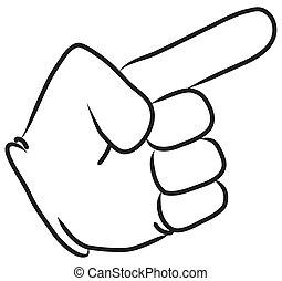 caricatura, mano señalar con el dedo