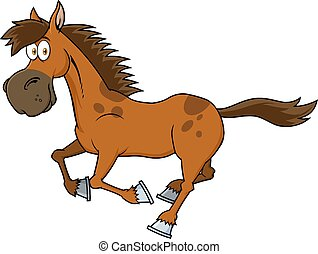 caricatura, marrón, carácter, caballo, corriente