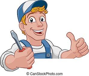 caricatura, mecánico, electricista, factótum, plomero