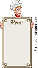 caricatura, menú, cocinero, señal, plano de fondo, panadero, chef, hombre