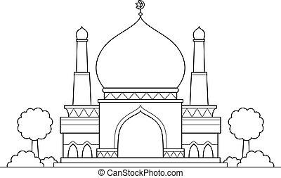caricatura, mezquita, vector