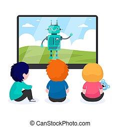 caricatura, mirar, niños, robot