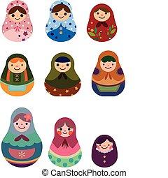 caricatura, muñecas rusas