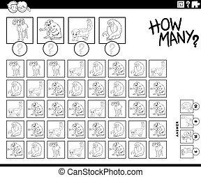 caricatura, muchos, página, libro, animales, colorido, contar, cómo, juego
