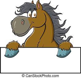 caricatura, muestra en blanco, caballo, carácter, encima