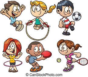 caricatura, niños, juego