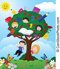 caricatura, niños jugar, appl