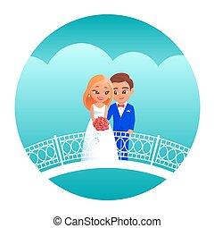 caricatura, novia, novio, bridge.