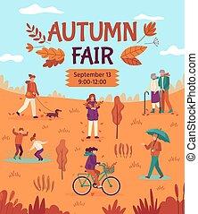 caricatura, otoño, artes, vector, gente, alimento, parque, otoño, fiesta, estación, público, calle, cartel, el gozar, fair., venta, cosecha, artes, mercado, aviador
